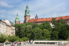 POLAND, KRAKOW - MAY 27, 2016: View of the Wawel Hill. Stock Photography