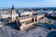 Poland. Krakow old city. Aerial view. Krakow old city in Poland with Main Market Square Rynek, old cloth hall Sukiennice, town hall tower and renovated Stock Images