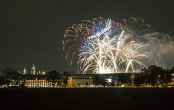 Poland, Krakow Skyline, Wawel Castle, Fireworks Royalty Free Stock Photo
