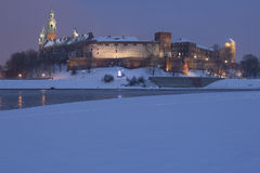Poland, Krakow, Snow Covered Wawel Royal Castle Li Stock Photos