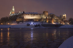 Poland, Krakow, Snow Covered Wawel Royal Castle Li Royalty Free Stock Image