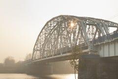 Poland, Krakow, Steel Railway Bridge Stock Photos