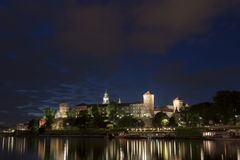 Poland, Krakow, Wawel Royal Castle Lit-up Royalty Free Stock Image