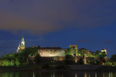Poland, Krakow, Wawel Royal Castle Lit-up Stock Photography