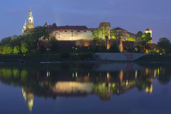 Poland, Krakow, Wawel Royal Castle Lit-up Royalty Free Stock Photo