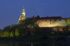 Poland, Krakow, Wawel Royal Castle Lit-up Royalty Free Stock Photography