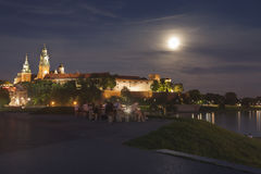 Poland, Krakow, Wawel Royal Castle Lit-up, summer, moonlit Royalty Free Stock Photos