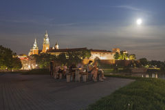 Poland, Krakow, Wawel Royal Castle Lit-up, summer, moonlit Stock Images