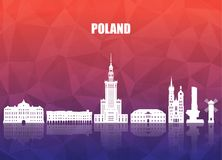 Poland Landmark Global Travel And Journey paper background. Vect. Or Design Template.used for your advertisement, book, banner, template, travel business or Royalty Free Stock Photos