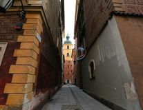 Poland, a lane in the old city of Warsaw,. A flying soap bubble Stock Images