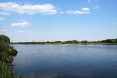 The largest Polish river Wisla near the city of Sandomierz. Poland. The largest Polish river Wisla near the city of Sandomierz stock image
