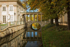 Poland.Lazienki Royal park in autumn.Palace on the water. Stock Image