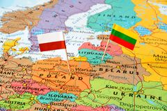 Poland and Lithuania map and flag pins. Map of neighboring countries Poland and Lithuania, country flags, political relations, concept image. Eastern and Central royalty free stock photos