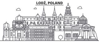 Poland, Lodz architecture line skyline illustration. Linear vector cityscape with famous landmarks, city sights, design Royalty Free Stock Photography