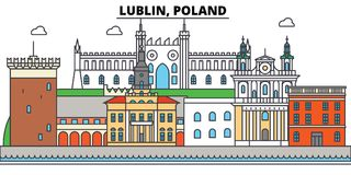 Poland, Lublin. City skyline, architecture, buildings, streets, silhouette, landscape, panorama, landmarks. Editable stock illustration