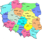 Poland map. Color Poland map with regions on a white background Stock Image