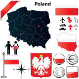 Poland map. Vector set of Poland country shape with flags, buttons and icons isolated on white background Royalty Free Stock Images