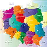 Poland map. Designed in illustration with the 16 provinces colored in bright colors and with the main cities. On an illustration neighbouring countries are Stock Photos
