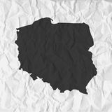 Poland map in black on a background crumpled paper Stock Image