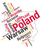 Poland map and cities. Poland map and words cloud with larger cities Royalty Free Stock Photo