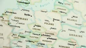 Poland on a Map with Defocus. Poland on a political map of the world. Video defocuses showing and hiding the map stock footage