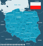 Poland - map and flag illustration Royalty Free Stock Images