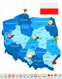 Poland - map and flag illustration Royalty Free Stock Image