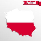 Poland map with flag inside and ribbon Stock Images