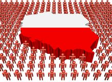 Poland map flag with many people Royalty Free Stock Photos