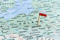 Poland map flag pin. Closeup shot of Poland map and flagpin royalty free stock photography