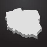 Poland map in gray on a black background 3d Royalty Free Stock Photo