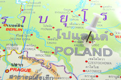 Poland map. Macro shot of poland map with push pin stock photography