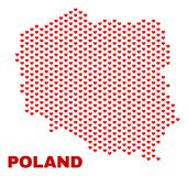 Poland Map - Mosaic of Valentine Hearts. Mosaic Poland map of heart hearts in red color isolated on a white background. Regular red heart pattern in shape of vector illustration