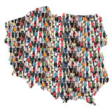 Poland map multicultural group of people integration immigration. Diversity isolated stock photo