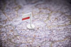 Poland marked with a flag on the map.  royalty free stock images