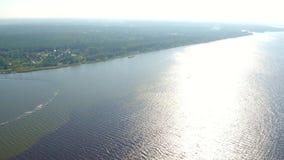 Narew river and Zegrzynski Reservoir by Serock resort near Warsaw, Poland stock footage