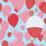 Poland National Day Flat Seamless Pattern. Flying Celebration Balloons in Colors of Polish Flag. Happy Independence Day Background with Flags and Balloons royalty free illustration