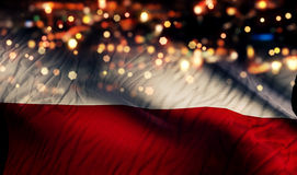 Poland National Flag Light Night Bokeh Abstract Background Stock Photo