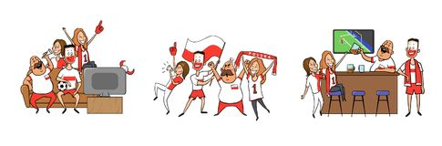 National football team supporters cheering at home, in the bar together. Set of football fans with national attributes vector illustration