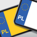 Poland number plate Stock Photography