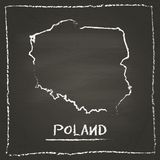 Poland outline vector map hand drawn with chalk. Stock Image