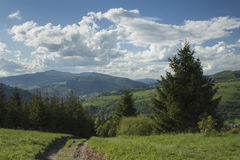Poland, Panoramic Viev of Gorce Mountain Range, Spectacular Clou Royalty Free Stock Images