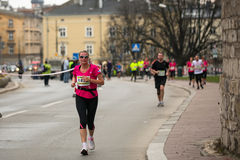 POLAND - participants during the annual Krakow international Marathon. Royalty Free Stock Images
