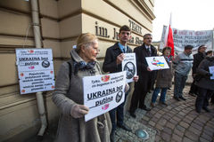 POLAND -  participants during protest near Cracow Opera, against bringing Russian troops in the Crimea. Stock Photos