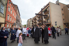 POLAND -  participants of the Way of the Cross on Good Friday celebrated at the historic center Stock Photography