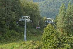 Poland, Pieniny Mountains, Chairlift in Summer Stock Images