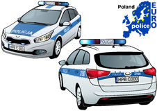 Poland Police Car. Colored Illustration from Series Euro police, Vector Royalty Free Stock Photography