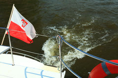 Poland Polish Ensign Flag on yacht sea Royalty Free Stock Image