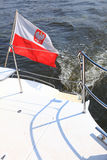 Poland Polish Ensign Flag on yacht sea Stock Photo