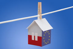 Poland, polish and EU flag on paper house. Concept - poland, polish and EU flag painted on a paper house hanging on a rope Royalty Free Stock Photography